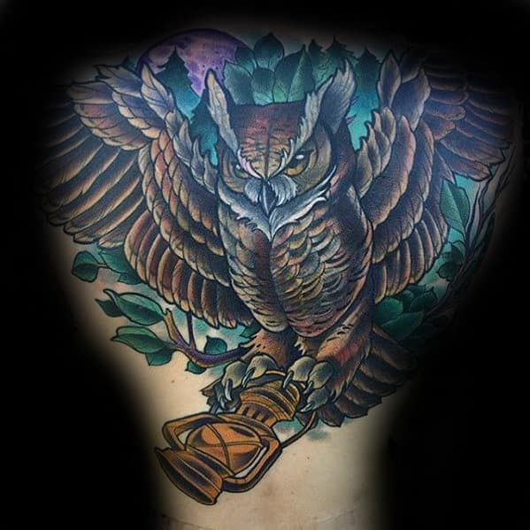 Cool Mens Owl Flying With Lantern Back Tattoo