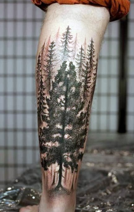 Cool Men's Pine Tree Ink Tattoo