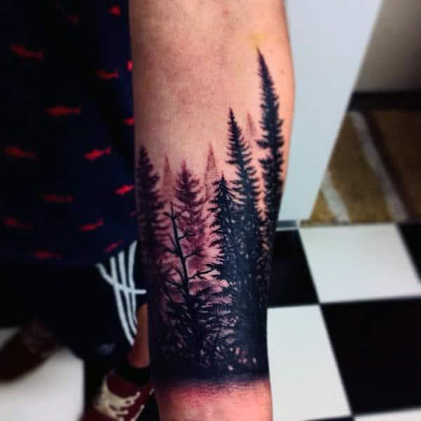 Cool Men's Pine Tree Tattoos On Wrist