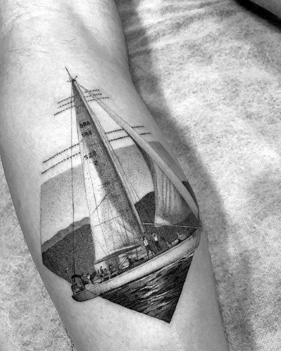 Cool Mens Realistic Small Detailed Shaded Sailboat Leg Calf Tattoo