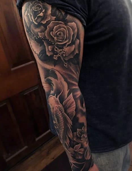 Cool Mens Rosary Tattoos On Arm Full Sleeve Inspiration