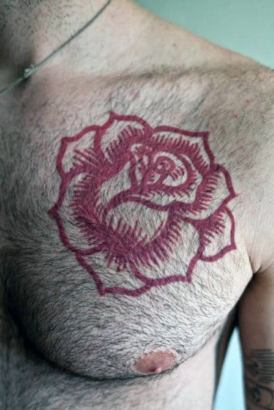 nextluxury chest 1 red rose tattoos