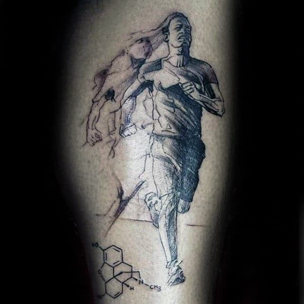 Cool Mens Runners High Chemical Tattoo On Leg