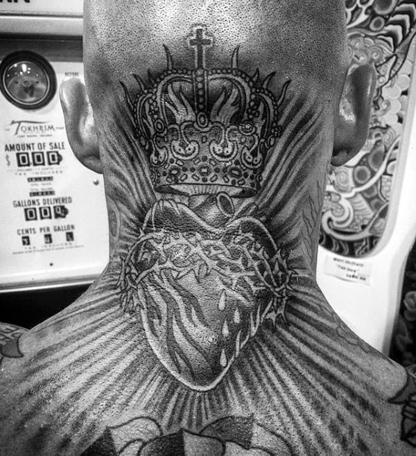 Cool Mens Sacred Heart Back Of Neck Tattoos