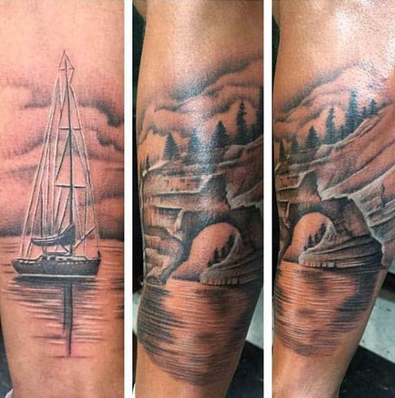 Cool Mens Sailboat Sea Scene Tattoo On Outer Forearm