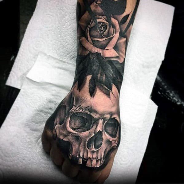 Cool Mens Shaded 3d Skull Tattoo Design Ideas On Hand