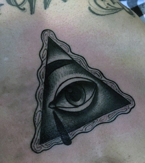 Cool Mens Shaded Eye Traditional Tattoo On Stomach