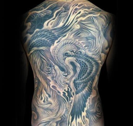 Cool Mens Shaded Phoenix Bird Full Back Tattoo