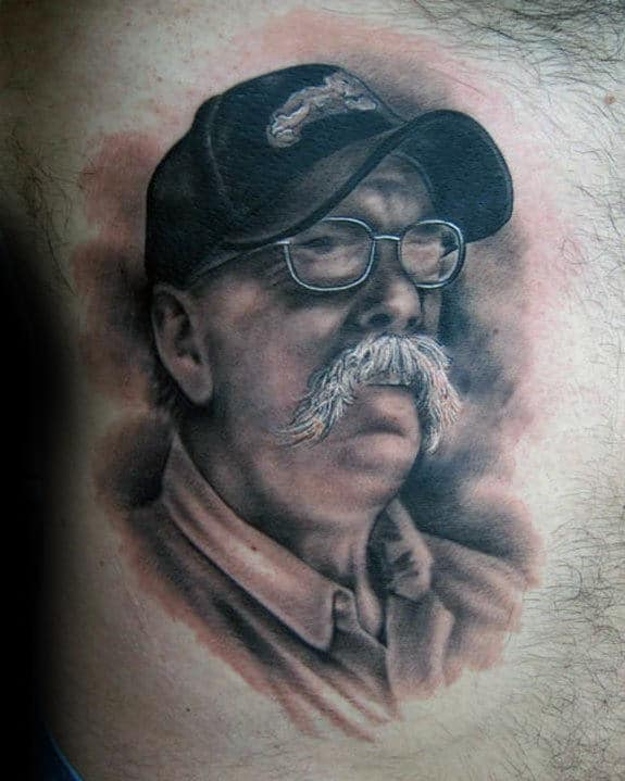 Cool Mens Shaded Portrait Of Grandpa On Chest