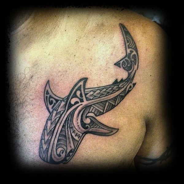 Cool Mens Shark Tribal Tattoo On Upper Chest Polynesian Design Ideas