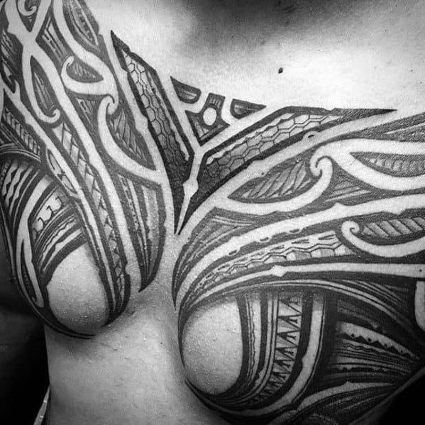 Cool Mens Sick Polynesian Tribal Upper Chest Tattoo