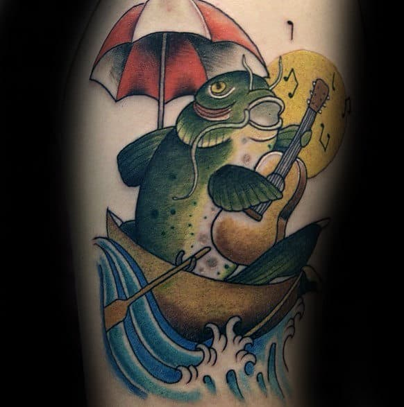 Cool Mens Singing Catfish In Boat Tattoo On Arm