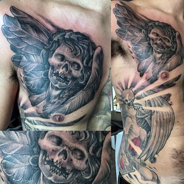 Cool Mens Skull Angel Chest Tattoo Designs