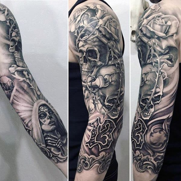 Cool Mens Skull Day Of The Dead Ornate Half Sleeve 3d Tattoo