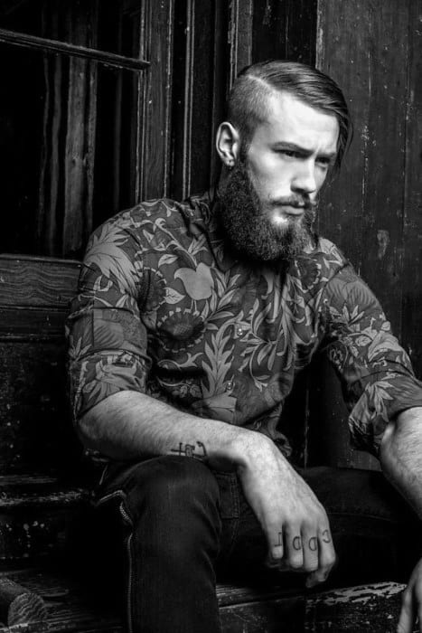 Cool Mens Slicked Undercut With Beard Hairstyles