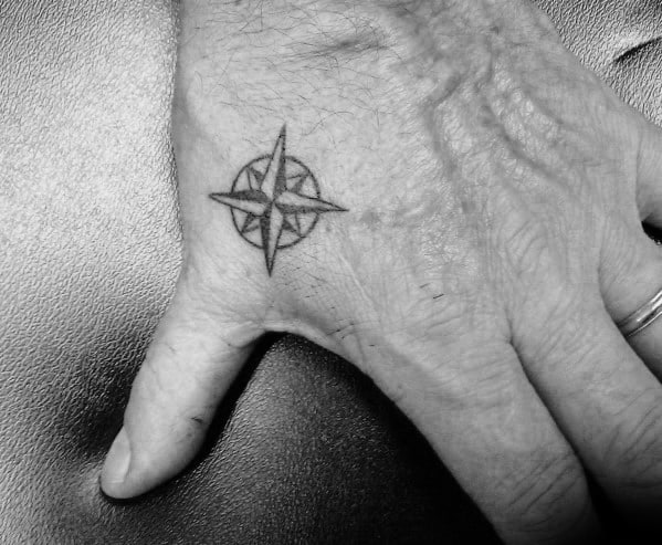 Cool Mens Small Nautical Star Tattoo On Hands