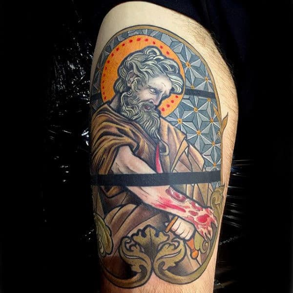 Cool Mens Stained Glass Thigh Tattoo Design
