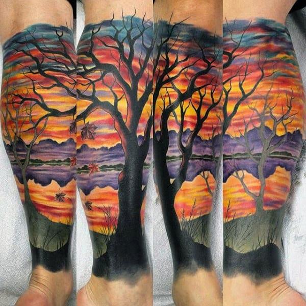 Cool Mens Sunset Sky Modern Leg Sleeve Tattoo