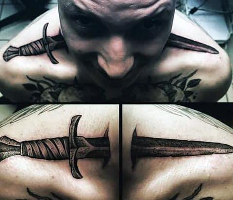 Cool Mens Sword Tattoos On Shoulders