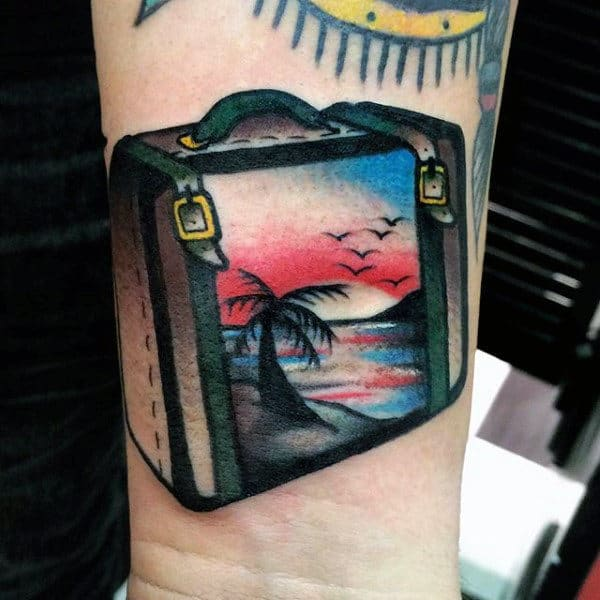 Cool Mens Tattoo Travel Small Wrist Design Of Suitcase With Palm Tree And Ocean Sunset