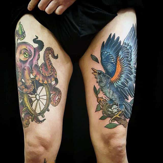 Cool Mens Thigh Tattoo Design Bird And Octopus