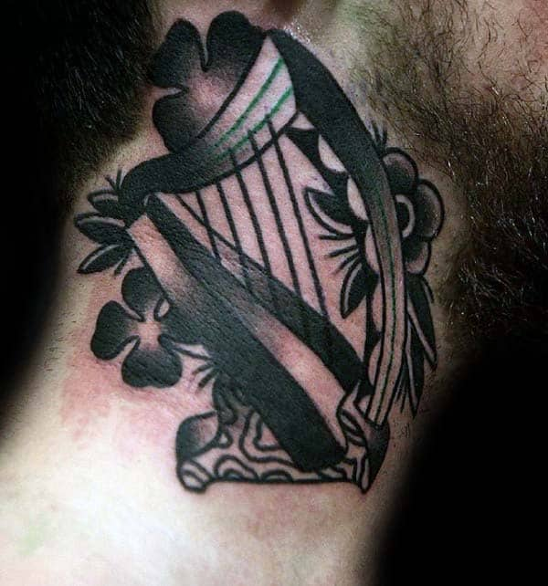 Cool Mens Traditional Irish Harp Tattoo Design On Neck