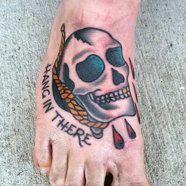 Cool Mens Traditional Skull Rope Hand In There Foot Tattoo