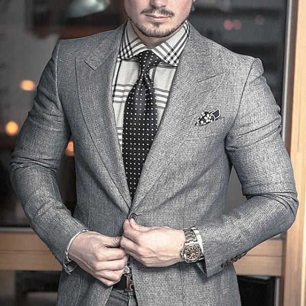 Cool Mens Trendy Outfits Style Inspiration Grey Suit With Polka Dot Tie