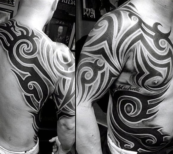 Cool Mens Tribal Chest Tattoos