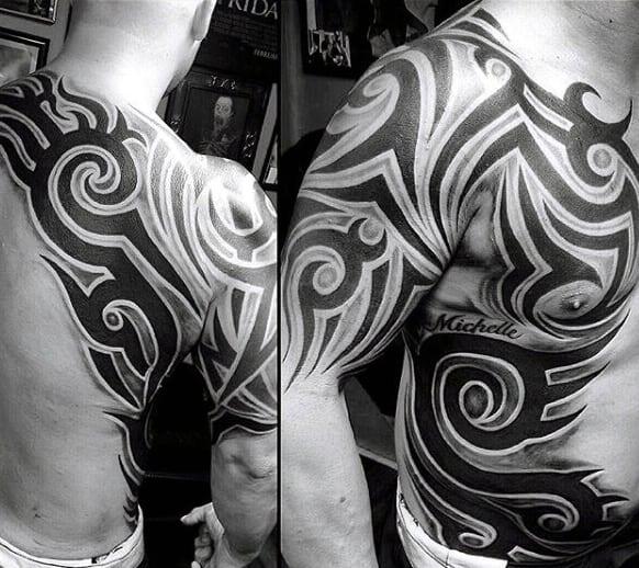 50 tribal chest tattoos for men masculine design ideas. Black Bedroom Furniture Sets. Home Design Ideas