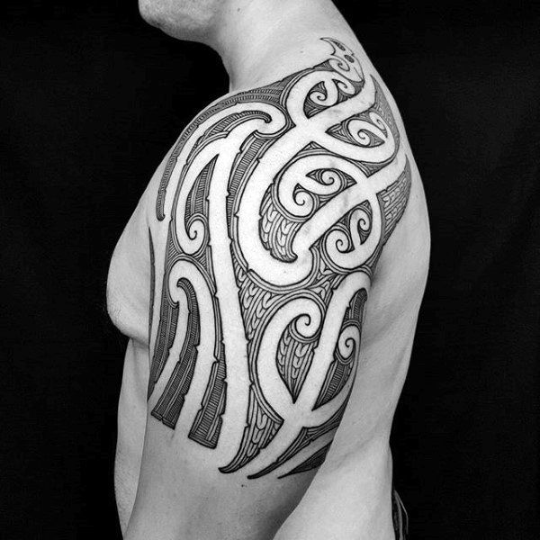Cool Mens Tribal Shoulder And Arm Negative Space Ornate Tattoo Design