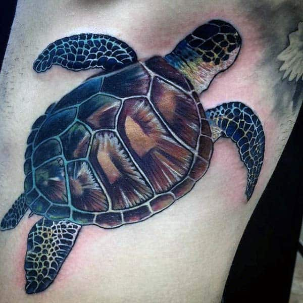 Cool Mens Turtle Tattoo On Arm
