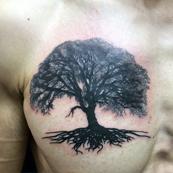 Cool Mens Upper Chest Tree Roots Tattoo