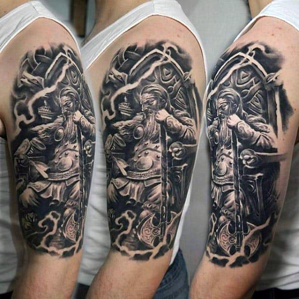 Cool Mens Viking Warrior Arm Tattoo Designs