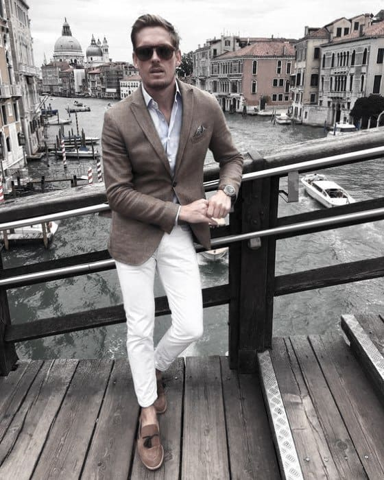 Cool Mens What To Wear With White Jeans And Blazer Outfits Style Inspiration