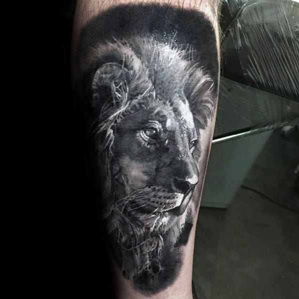 Cool Mens White And Grey Ink Realistic Lion Tattoos On Forearm