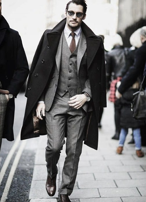 Cool Mens Winter Season Charcoal Grey Suit Brown Shoes Style