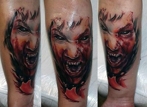 Cool Mens Wrist Biting Red Vampire Tattoos