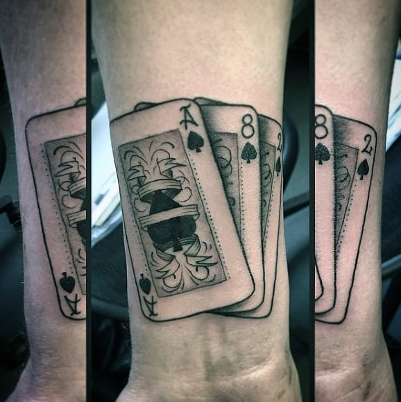 Cool Mens Wrist Playing Card Tattoo Ideas