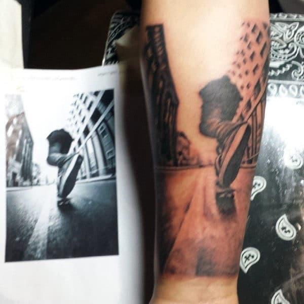 Cool Mens Wrist Tattoo Realistic Skateboard Rider Design
