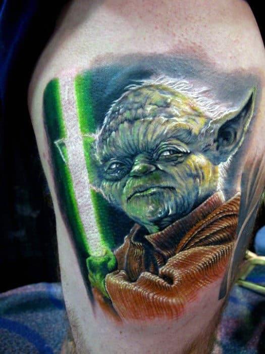 Cool Mens Yoda Thigh Tattoo Ideas