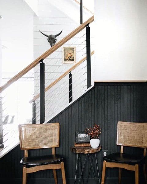 Cool Metal Stainless Steel Wire Stair Railing With Wood Handrail