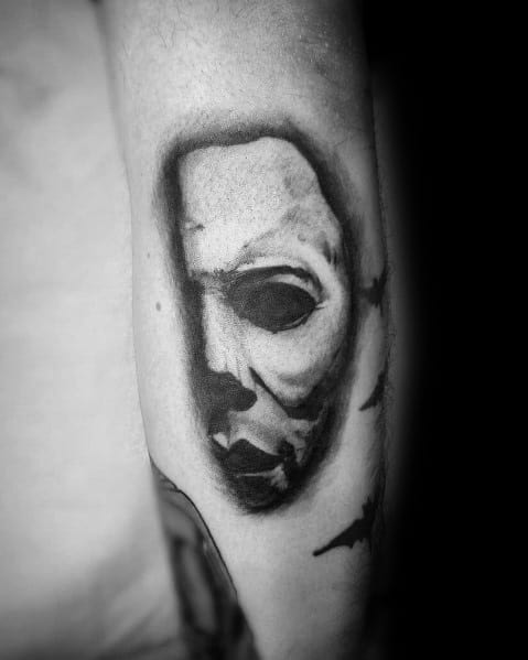 Cool Michael Myers Mask 3d Tattoos For Men On Arm