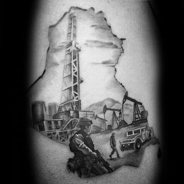 Cool Military Oilfield Mens Arm Tattoo Designs
