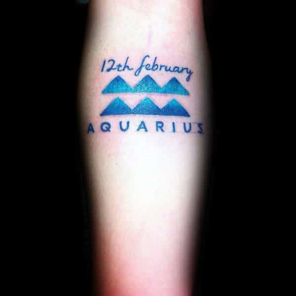 Cool Modern Aquarius Small Guys Tattoo Ideas On Forearm