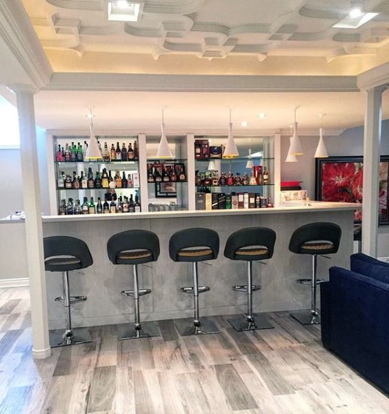 Modern Home Bar Design Ideas: 70 Home Basement Design Ideas For Men