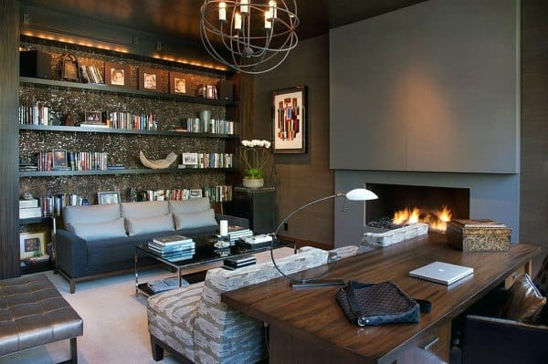 Cool Modern Home Offices With Fireplace And Bookcase