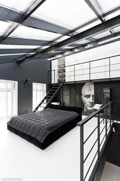 20 masculine men 39 s bedroom designs next luxury for Modern loft bedroom
