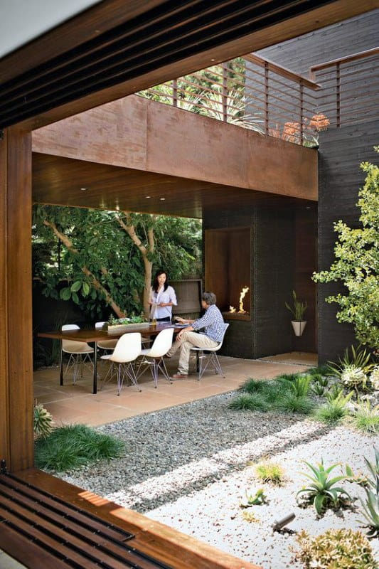 Cool Modern Outdoor Fireplace Design Ideas