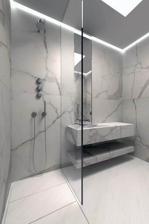 Lovely Cool Modern Shower Design Ideas With Marble Tile